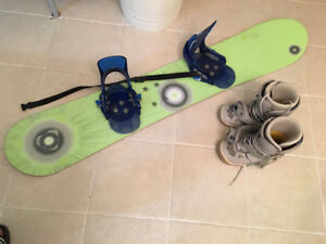 Women's Snow Board, Boots and Step in Bindings