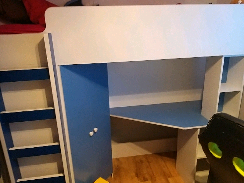 Cabin Bed High Sleeper Blue And White Single Size In