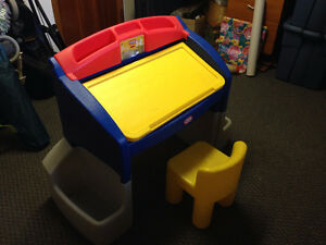 Child's Little Tikes Art Desk with matching chair