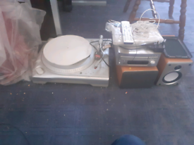ION ITTUSB USB TURNTABLE, DENON CD RECEIVER + TWO SPEAKERS