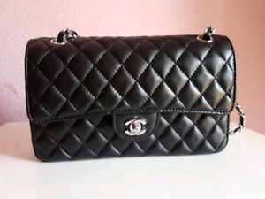 Black Leather Used Chanel Bag