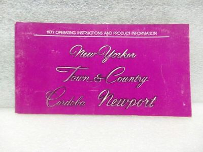 NEW YORKER TOWN & COUNTRY CORDOBA NEWPORT 1977 Owners Manual 16521