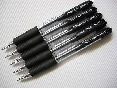 6 Pens Pack Pilot Retractable Super Grip 0.7mm Fine Ball Point Pen Black