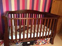 Wooden cot baby style holly sleigh bed