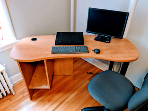 Student home office - desk, monitor, keyboard/mouse, chair