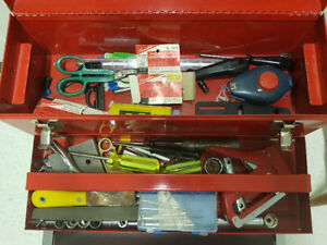 Red tool box w/miscellaneous items