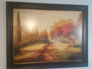 Country Tree Painting with Artist Signature