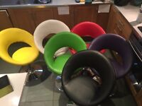 6 multi coloured chairs