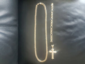 "32"" 10k chain  bracelet and cross for sale or trade"