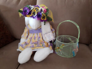 Plush bunny and basket