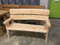 SOLD (more available soon) - Larch garden bench - 4 foot with arm rests