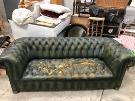 Antique Leather Chesterfield Sofa For Restoration