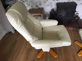 Sorrento leather recliner chair with matching footstool