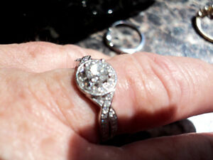 Glacier Fire engagement ring with matching wedding band