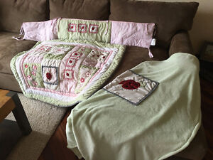 Nursery Matching Crib Bumper, Quilted Cover & Blanket.