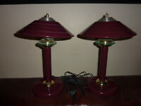 Burgundy and Brass Bedroom Lamps