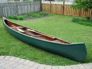16 ft. Peterborough cedar strip canvas covered canoe