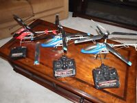 Several Large R/C helicopters with Remotes