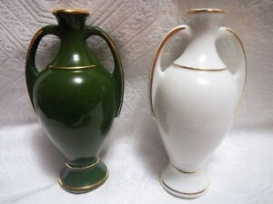 Chauvigny FD Véritable Porcelaine France White & Green Amphoras