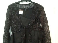 size M black with silver thread lace cropped top long sleeved.