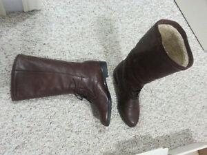 Women's Brown Leather Winter Boots