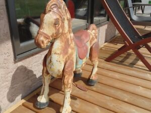 Vintage MOBO stamped steel riding horse