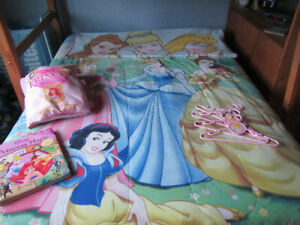 Princess bedding, bath towel, book, hangers and more