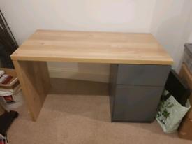 RRP £125 Habitat Arlon 1 drawer pedestal desk two tone wood and grey