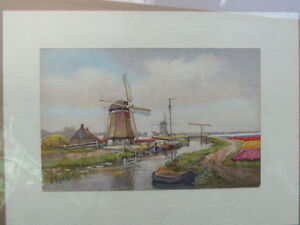 Dutch watercolour..Bright with lovely tulips: Vintage piece! London Ontario image 2