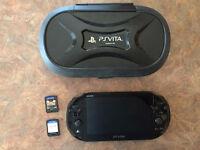 PS VITA avec jeux et étui rigide + 2 cartes mémoires