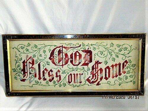 ANTIQUE NEEDLEPOINT PAPER PUNCH GOD BLESS THIS HOME MOTTO SAMPLER FRAMED FOLKART