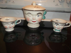 Bailey's Yum cookie jar and 2 cups
