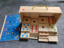Large wooden doms dominos dominoes set with box