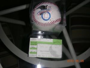 SOUVENIR BASEBALL MIB+TICKET FOR TAMPA BAY RAYS FIRST GAME 1998