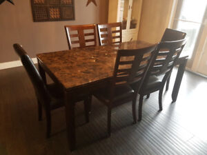Faux Marble Dining Table With 6 Chairs