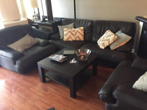 3 Piece Brown Leather Couch Set for Sale!