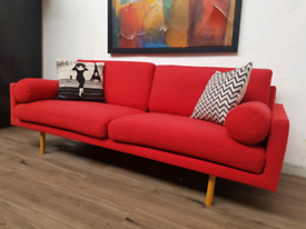 Habitat Spencer 3 seater sofa in red wool RRP £2200
