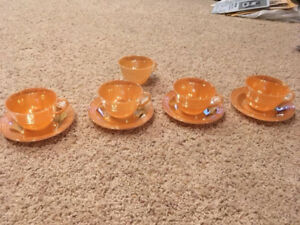 Peach Lustre Cups and Saucers, and Mug