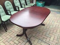 Extending dining table and chairs. Offers