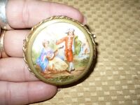 "ANTIQUE GORGEOUS 14K GOLD PLATED PORCELAIN ""LIMOGES"" BROOCH AA"