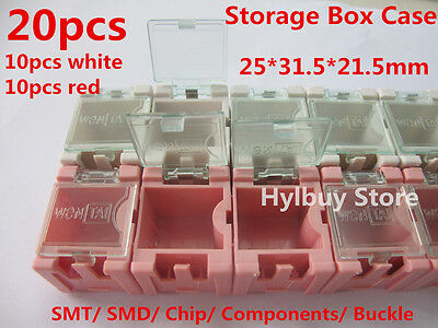 20pcs Smt Smd Kit Laboratory Chip Components Storage Box Case Pinkwhite New