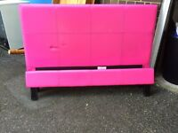 Lovely pink faux leather double bed