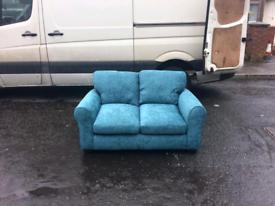 2 seater sofa in blue crushed velvet £165