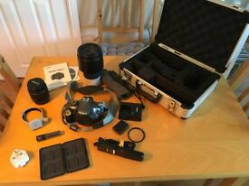 Canon EOS1100D Digital SLR Camera with 70-200mm lens and storage case