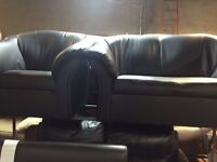 2&1 seater black sofa