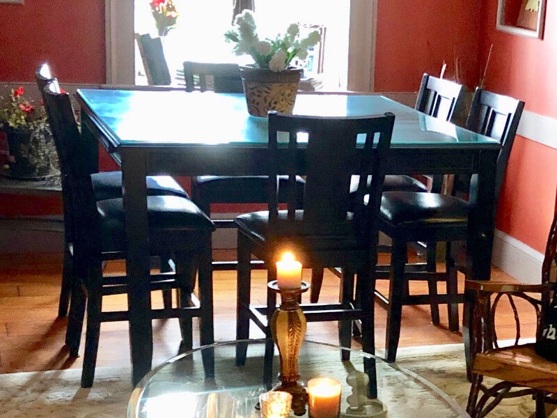 Ashley Furniture Bar Top Dining Table And Six Chair Set