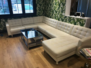 Sectional, White leather with chaise - 5 seater