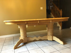 Double Pedestal Solid Oak Dinning  Room Table