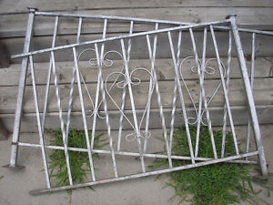 Two Vintage Wrought Iron Railings Silver in colour. Heart design