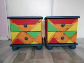 Two colorful hand painted bedside/side tables/drawers